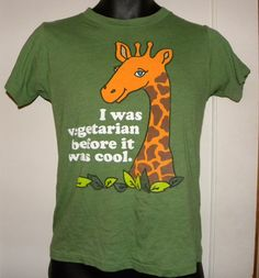 Vintage I Was Vegetarian Before It Was Cool green L t-shirt vegan giraffe