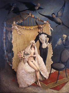 Claude Verlinde 1927 | French Surrealist painter // Bien sûr, il y a là «Le Songe d'une Nuit d'Été», mais le marié en âne, ça me fait sourire!