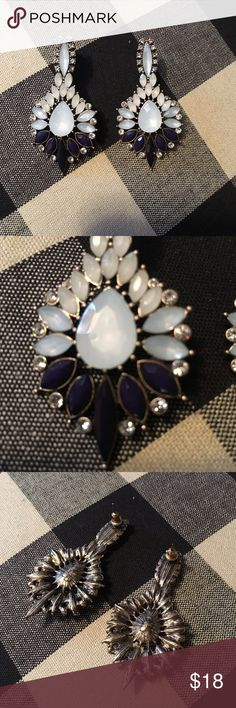 Park Lane Lotus Blossom Earrings Statement Gorgeous statement earrings by park lane. Purchased from a consultant and worn once, they just aren't really my style. Excellent condition, retails around $30. Stones are an opal mint and navy blue. Park Lane Jewelry Earrings