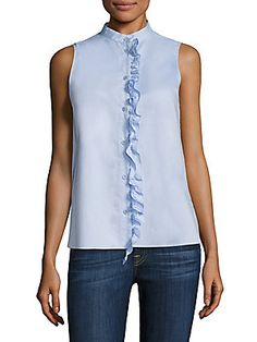 Tibi Oxford Sleeveless Ruffle Top