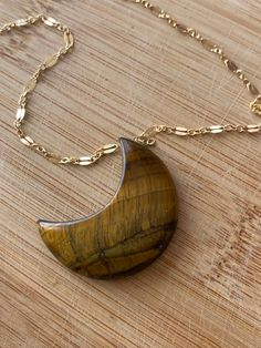 Large Tiger eye Moon Pendant Necklace - Tiger eye Jewelry - Gemstone Necklace - 14 k Gold fill - Healing Chakra Crystal Necklace