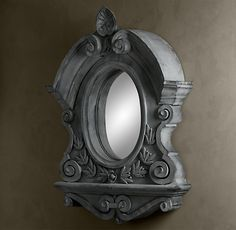 This mirror is nearly 5 feet wide x 6 feet high and I love it... but it's huge in the wrong direction! If only it were 6 feet wide and 5 feet high I could use it as a headboard.  19th C. Belgian Zinc Scroll Mirror