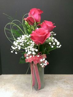 Three Rose Vase Roses and Baby's Breath - always in style!