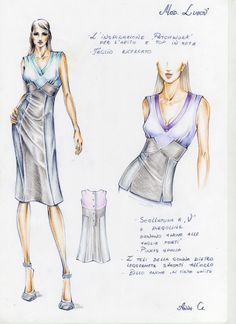 The Dress and the Top/ Fashion Design Sketch by Anna G.