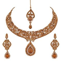 I Jewels Women's Elegantly Handcrafted Stone Necklace Set with Maang Tikka and Earrings Gold *** More details can be found by clicking on the image.