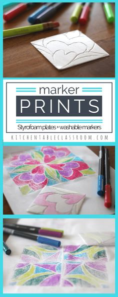 Marker prints are easy and the kids think they are magical. Chances are you have the supplies- all you need is a Styrofoam plate and some washable markers. Very little prep work is required, and the results are awesome! Use this one day printmaking method to explore a variety of subjects.