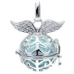 Klangkugel türkis mit Flügeln - Engelsflüsterer - inkl. 70 cm Halskette