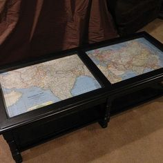 """Coffee Table Makeover with Antique Maps (This would be a great idea to put a map of one's personal world travels """"pinned"""" the map to add a personal touch.)"""