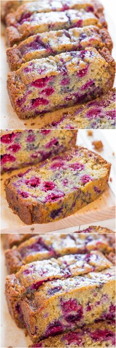 The Best Raspberry Bread - There's almost more raspberries than bread! Super soft and just bursting with juicy berries! So delishhhh! (you can use frozen berries!)