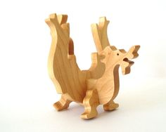 Wooden Toy Dragon Waldorf Wood Toy Hand Cut by OohLookItsARabbit