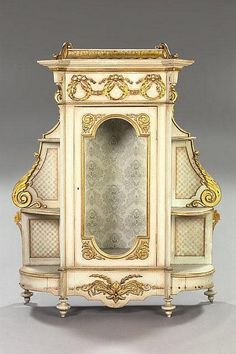 Empire-Style Giltwood and Ivory-Painted Vitrine,