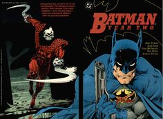 Batman: Year Two finds the Dark Knight in his second year of crimefighting when Batman gets into a violent conflict with Gotham City's first vigilante, the Reaper - now a brutal killer - which leads him to a desperate alliance with his parents' killer. Book Cover Art, Comic Book Covers, Comic Books, Batman Collectibles, Long Books, Todd Mcfarlane, Story Arc, Batman Art, Detective Comics