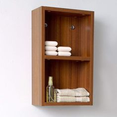 Fresca Teak Bathroom Linen Side Cabinet w/ 2 Open Storage Areas