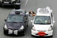 Decoración auto para boda