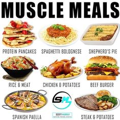 MUSCLE MEALS by - Which is your favourite bulking meal? As you seem to like the previous bulking meal post here are another 8 juicy meal examples that are often very calorie dense thus aiding those with poverty appetites and/or large maintena Healthy Smoothie, Healthy Snacks, Healthy Eating, Healthy Recipes, Healthy Tips, Bulking Meals, Bulking Diet, Food To Gain Muscle, Muscle Food