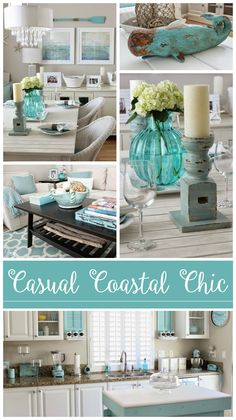 Pretty cottage bungalow featuring coastal home decorating in white, neutrals, aqua & turquoise - Casual beach chic styling by @breezydesign | Home tour at foxhollowcottage.com