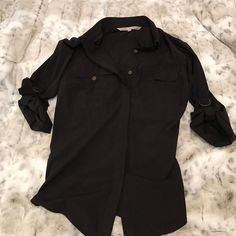 Rachel Roy Conpartment Top Rachel Roy Conpartment Top.  Silky black and copper button details.  Brand New top! RACHEL Rachel Roy Tops Button Down Shirts