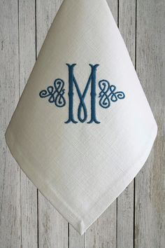 After many years of making wonderful French linen things, Ive finally succumbed to the many emails to make napkins. Embroidery Monogram, Embroidery Applique, Machine Embroidery, Embroidery Designs, Monogrammed Napkins, Cloth Napkins, Linen Napkins, Monogram Fonts, Special Gifts