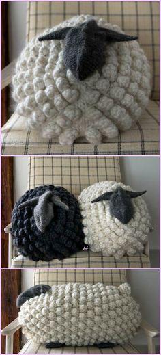 Knit Gentle Giant Bobble Sheep Pillow Free Pattern