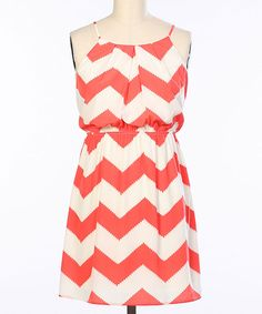 Another great find on #zulily! Hello Miss Coral & White Zigzag Blouson Dress by Hello Miss #zulilyfinds