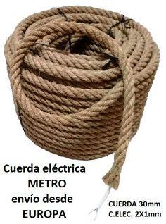 Metro cuerda de esparto 30mm con cable eléctrico 2x1 mm de CuerdaElectrica en Etsy