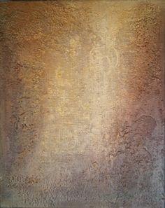 Englevakt - 50x40 cm. Akryl på lerret m/ blandingsteknikk.  Bildet går i fargene: Offwhite, beige, gull, bronse, burgunder, aubergine, brun.