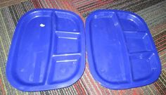NEW LOT OF 4 BLUE 4 COMPARTMENT DIVIDED DINNER TRAY BY US ACRYLIC LLC., NEW MINT