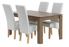 VEDDE 160 stejar sălbatic+4 BAKKELY crem | JYSK Dining Chairs, Furniture, Home Decor, Decoration Home, Room Decor, Dining Chair, Home Furnishings, Home Interior Design, Dining Table Chairs