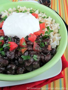 Slow Cooker Cuban Black Bean and Rice Bowls