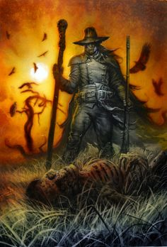 greg staples robert e howard horror stories book cover solomon kane large art Comic Art