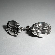 82bc7ec3ceb0 VINTAGE GEORG JENSEN EARRINGS WITH FLORAL MOTIF # 55, STERLING SILVER.  SCREW BACK