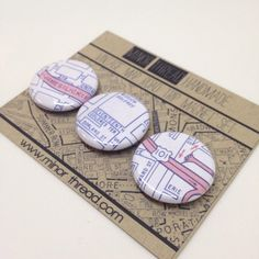 A Minor Thread original! These Road Trip Magnets are made from images of vintage San Francisco street maps. Each set features three 1 round magnets.