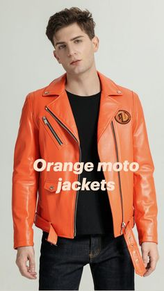 Boys Leather Jacket, Coloured Leather Jacket, Leather Jackets, Orange Jacket, Brown Jacket, Riders Jacket, Moto Jacket, Orange Is The New Black, Black And Brown