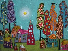 karla gerard art: Houses Trees and Birds Painting by Karla G