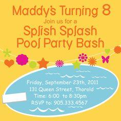 Orange Birthday Pool Party Invite