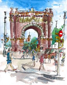 Barcelona, Spanien, Arc de Triomf, Aquarell-Skizze - archivalische Druck aus einer ursprünglichen Skizze    Paris ist nicht der einzige mit einem