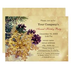 gold Festive Corporate holiday party Invite #christmas #xmas #snowflakes #invittaions