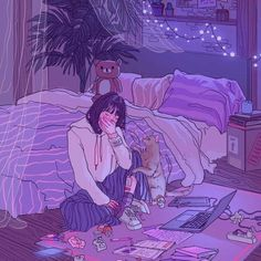 Image discovered by Marineh˚. Find images and videos about girl, art and aesthetic on We Heart It - the app to get lost in what you love. Aesthetic Drawing, Aesthetic Art, Aesthetic Anime, Korean Aesthetic, Arte Do Kawaii, Kawaii Art, Art And Illustration, Cute Cartoon Girl, Cartoon Art