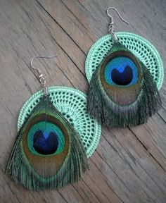 Proud as a Peacock Feather and Crochet Hoop Earrings
