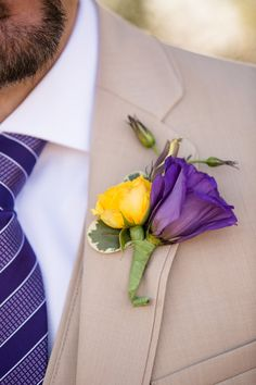 Lisianthus and rose boutonniere