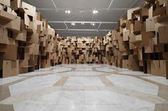 Zimoun- cardboard box installation
