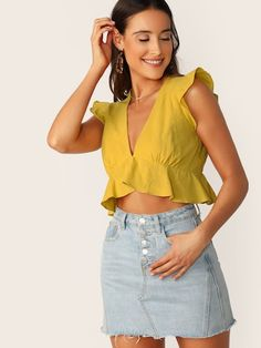 95120c1ca356 V-Neck Ruffle Detail Cropped Tank Top #fashion #trends #styles #shein