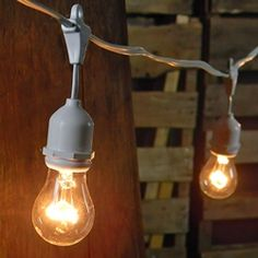 $262.19 THERE LIKE REGULAR LIGHT BULBS!  YOU COULD PUT LIKE COOL FIXTURES ON THEM UGH I WANT THESE Bulb Type: A15 party bulbs, E27 base, 15 Watt (included and replaceable) Light Count: 50 Lighted Length: 100 ft. Bulb Spacing: 2 ft. Lead Length: 6 ft Tail Length: 0 in Wire Color: White  http://www.lightsforalloccasions.com/p-3423-commercial-drop-string-lights-100-foot-white-wire-clear.aspx