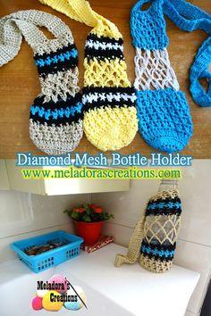 Diamond Mesh Bottle Holder - Free pattern and video tutorials by Meladora's Creations