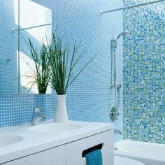 Bath Photos Blue Mosaic Tile Bathroom Design, Pictures, Remodel, Decor and Ideas