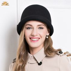 Spy Style Winter Satin Bowknot Felt Short Brim Bowler Hat 3ff5be6c368
