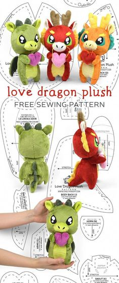 Diy Sewing Projects Free sewing tutorial: Make an adorable little dragon in either an Eastern or Western style! Sewing Stuffed Animals, Stuffed Animal Patterns, Free Sewing, Knitting Patterns Free, Free Pattern, Crochet Patterns, Free Knitting, Pattern Ideas, Pattern Sewing