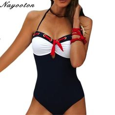 Push up new Red Tie feminin swimwear Halter Top bathing suits restore ancient ways One Piece Swimsuit women swim monokini D001