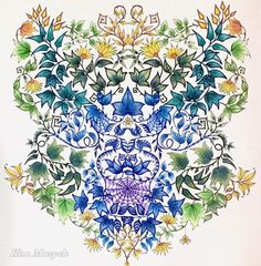 Johanna Basford's Secret Garden Magical Jungle Johanna Basford, Johanna Basford Secret Garden, Secret Garden Coloring Book, Johanna Basford Coloring Book, Book Works, Flower Doodles, Prismacolor, Color Inspiration, Coloring Books