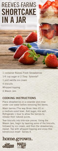 Ice Cream 4, Vanilla Ice Cream, Cooking Instructions, Whipped Topping, Mason Jars, Berries, Strawberry, Artisan, Fresh